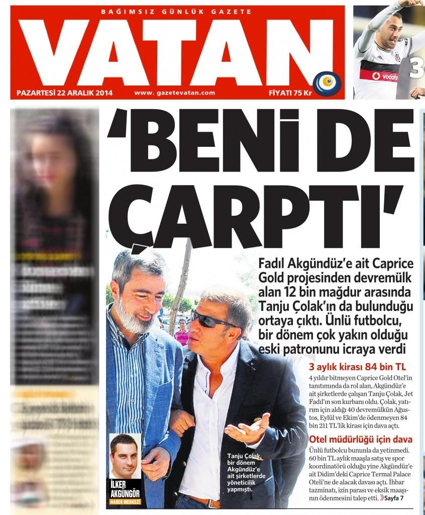 22 Aralık 2014 Vatan Gazetesi 1. sayfa