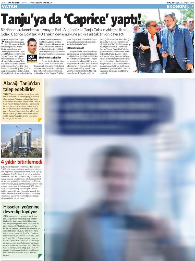 22 Aralık 2014 Vatan Gazetesi 7. sayfa