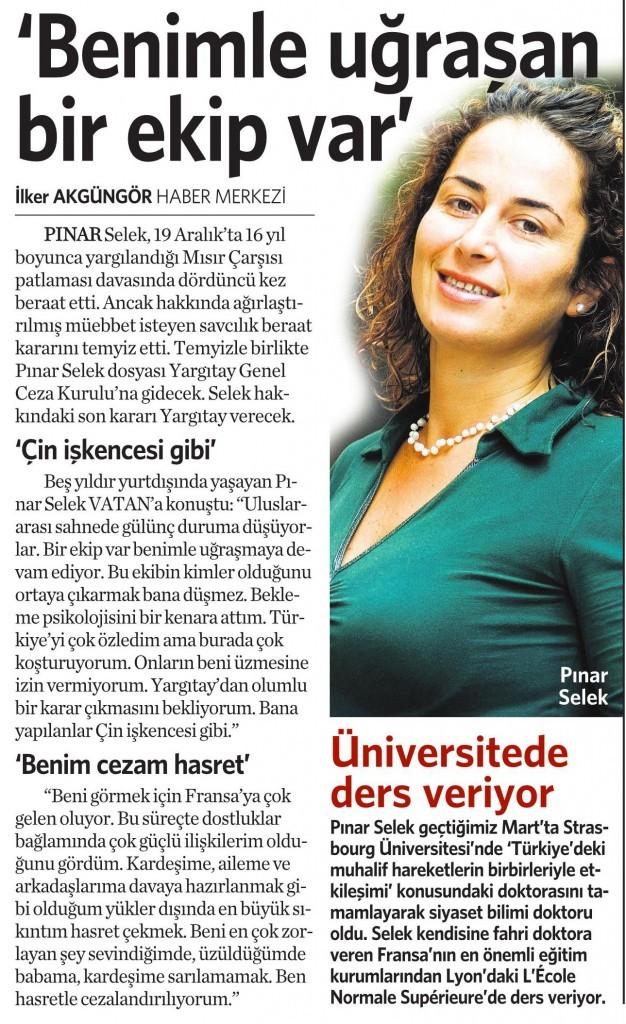 24 Aralık 2014 Vatan Gazetesi 12. sayfa