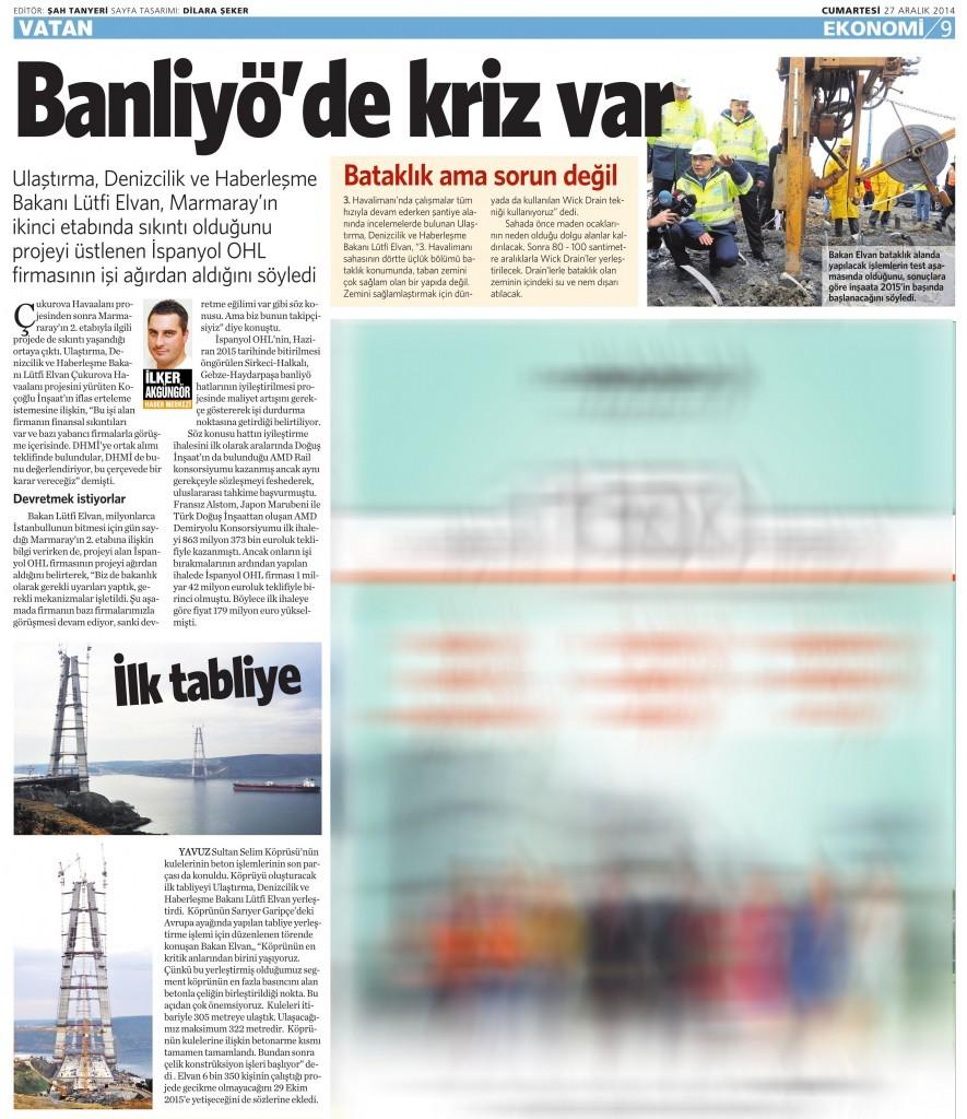 27 Aralık 2014 Vatan Gazetesi 9. sayfa