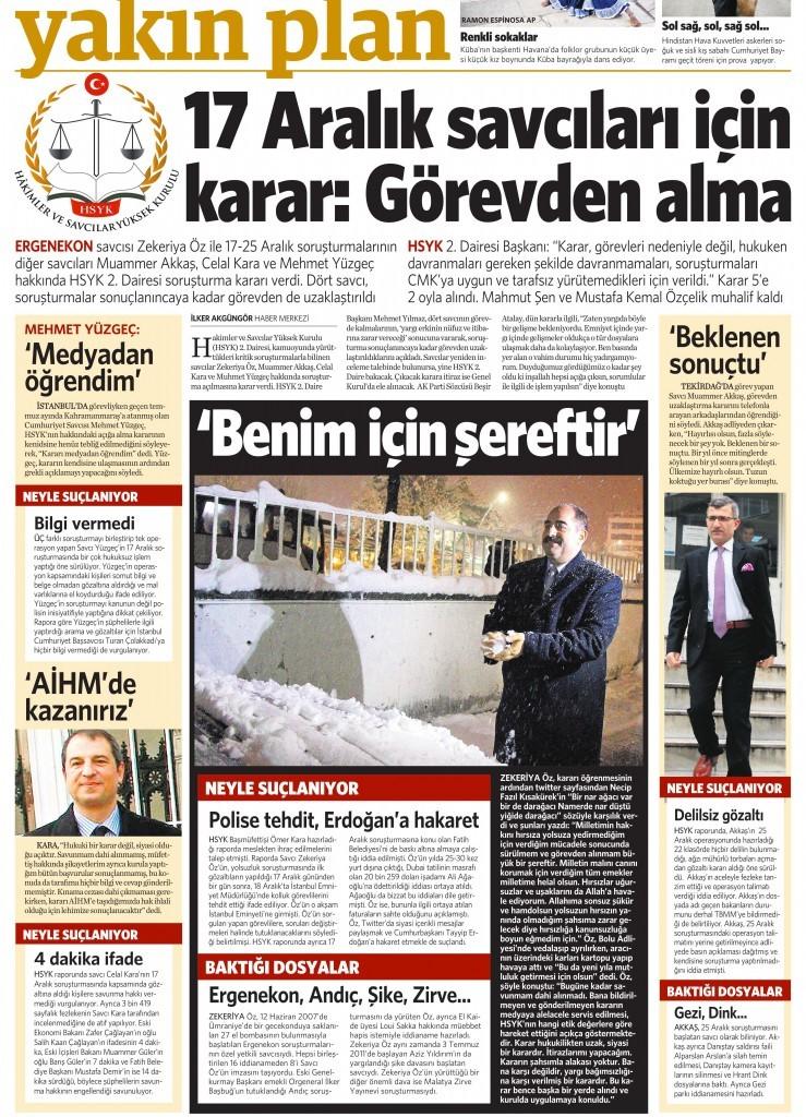 31 Aralık 2014 Vatan Gazetesi 12. sayfa