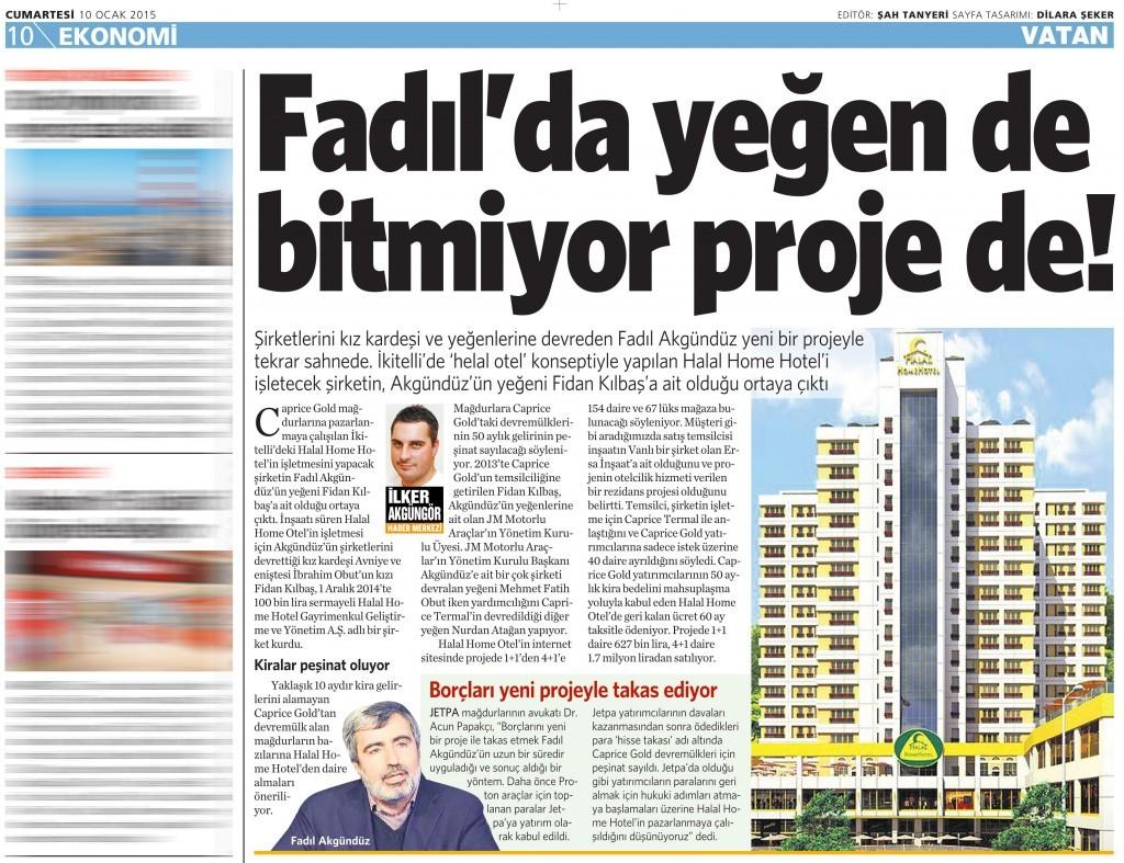 10 Ocak 2015 Vatan Gazetesi 10. sayfa