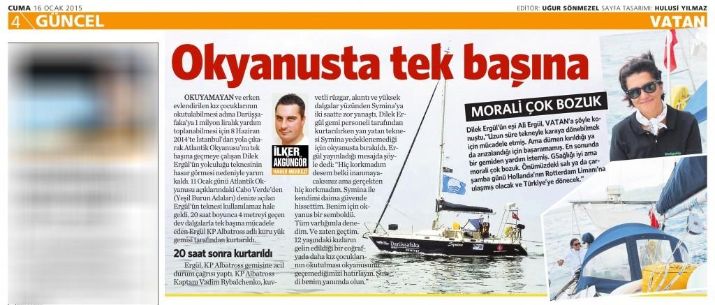 16 Ocak 2015 Vatan Gazetesi 4. sayfa