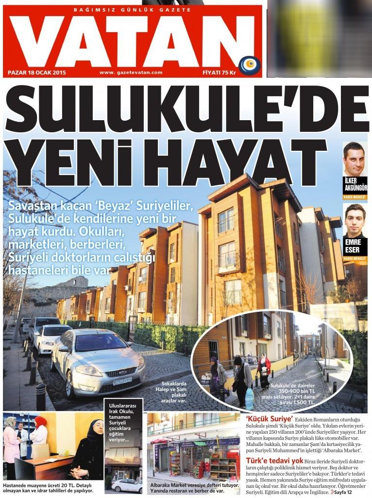 18 Ocak 2015 Vatan Gazetesi 1. sayfa