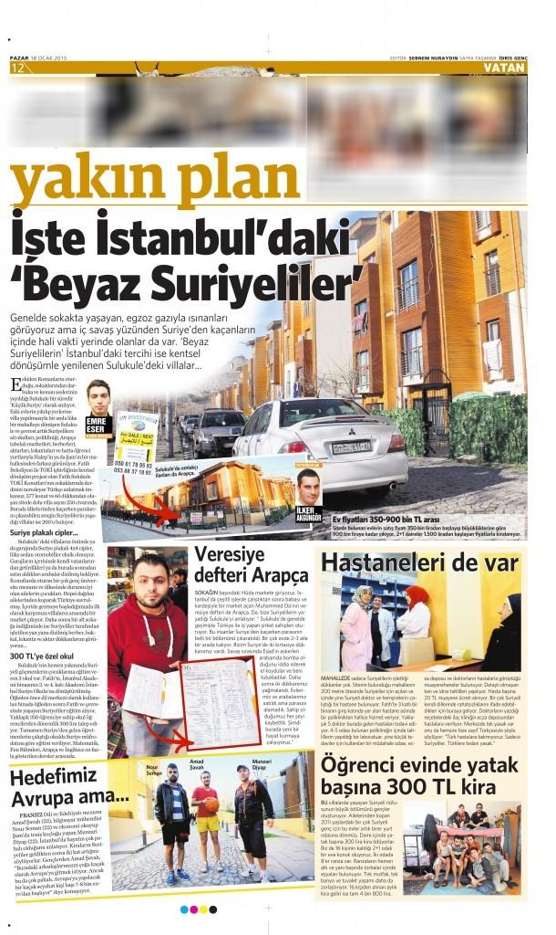 18 Ocak 2015 Vatan Gazetesi 12. sayfa