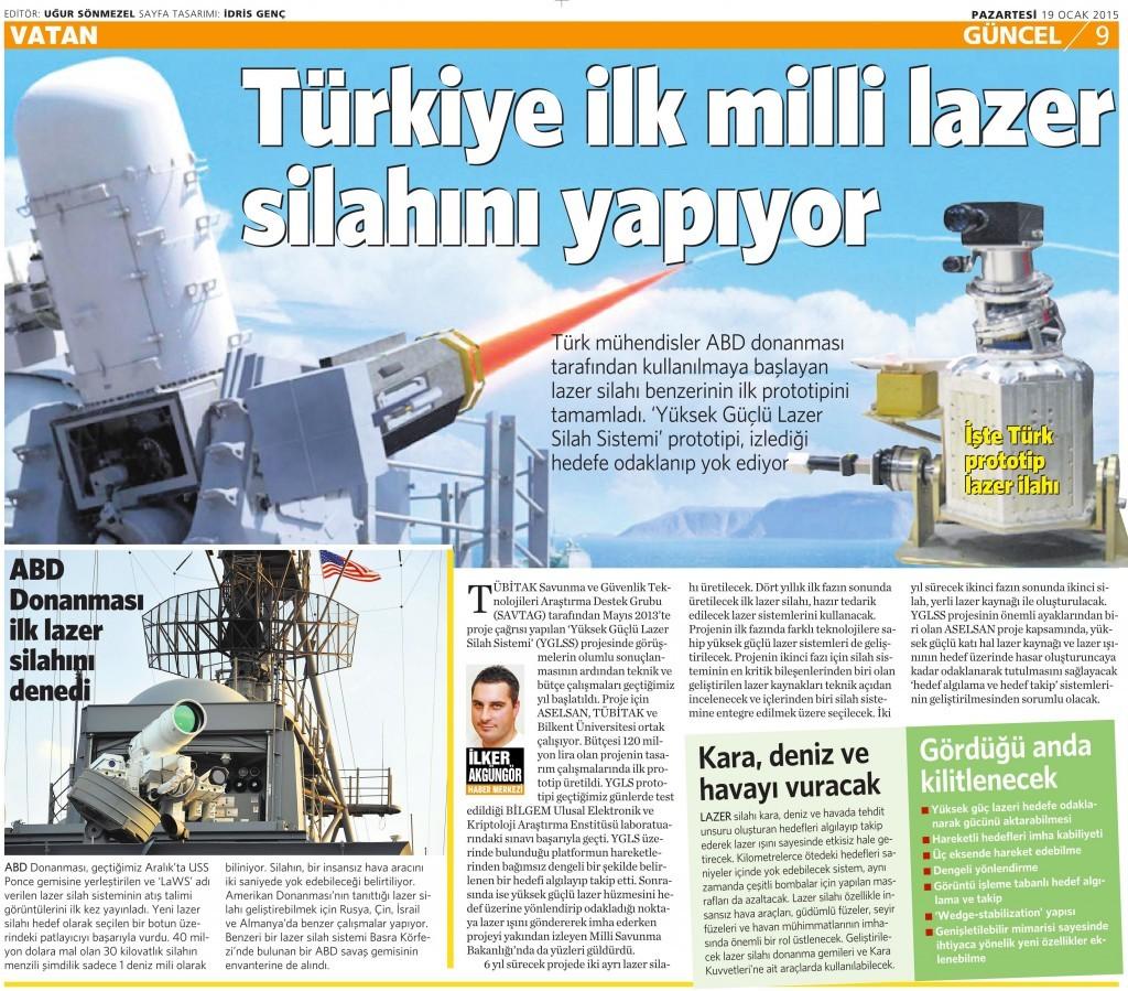 19 Ocak 2015 Vatan Gazetesi 9. sayfa