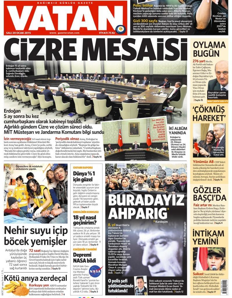 20 Ocak 2015 Vatan Gazetesi 1. sayfa
