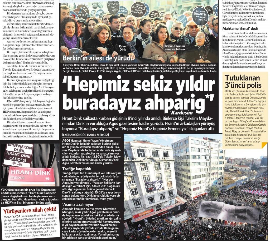 20 Ocak 2015 Vatan Gazetesi 12. sayfa