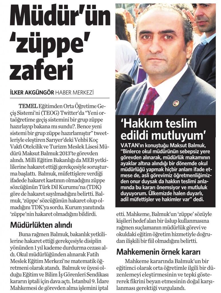 26 Ocak 2015 Vatan Gazetesi 12. sayfa