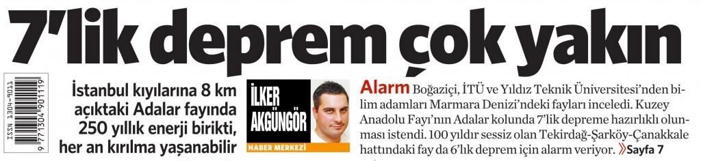 28 Ocak 2015 Vatan Gazetesi 1. sayfa