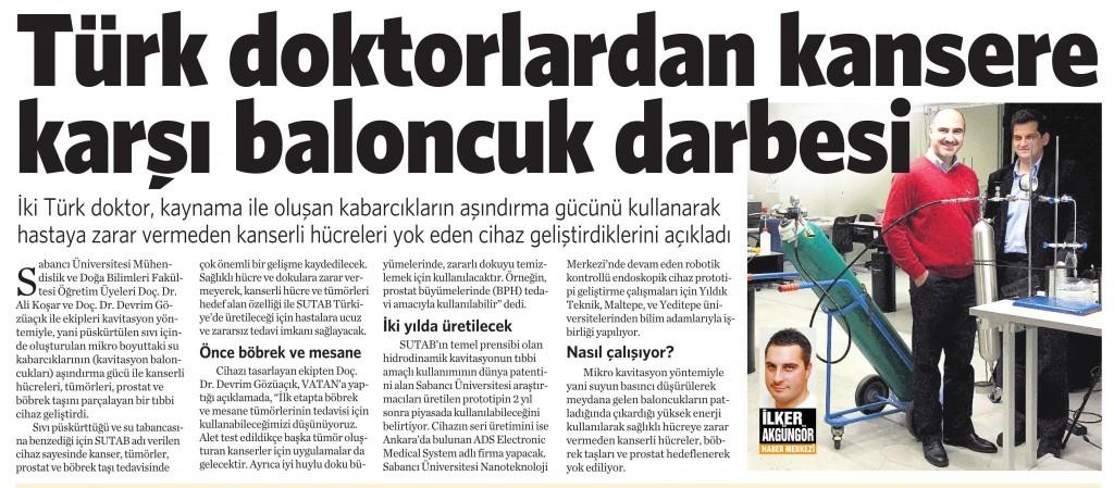 29 Ocak 2015 Vatan Gazetesi 2. sayfa
