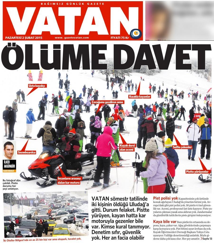 2 Şubat 2015 Vatan Gazetesi 1. sayfa