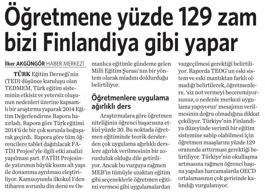 13 Şubat 2015 Vatan Gazetesi 6. sayfa