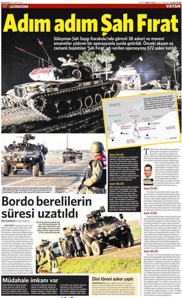 23 Şubat 2015 Vatan Gazetesi 10. sayfa