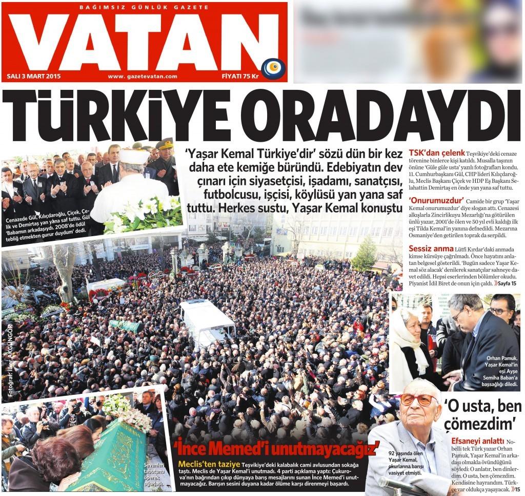 3 Mart 2015 Vatan Gazetesi 1. sayfa