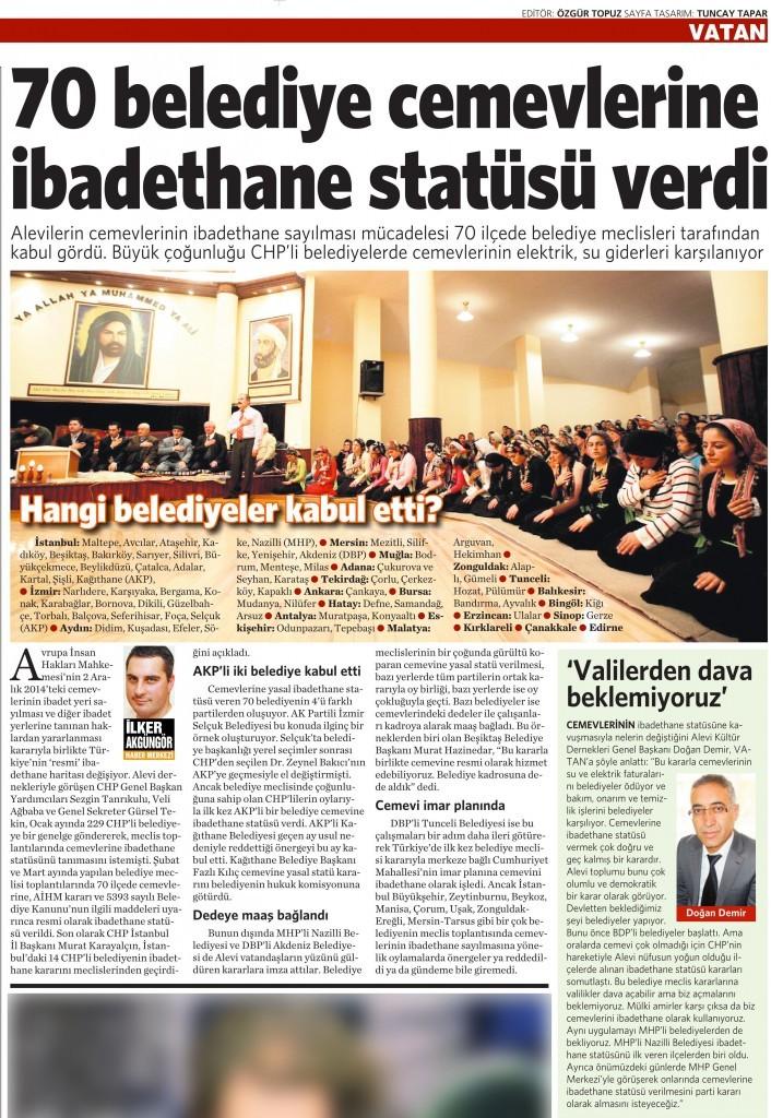 9 Mart 2015 Vatan Gazetesi 16. sayfa