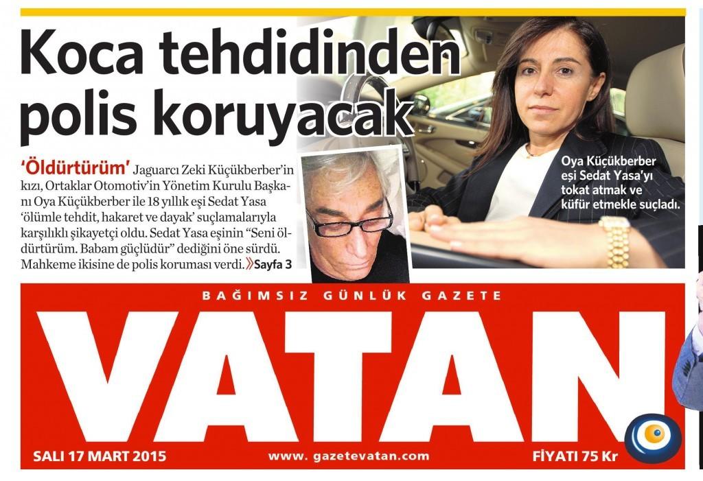 17 Mart 2015 Vatan Gazetesi 1. sayfa