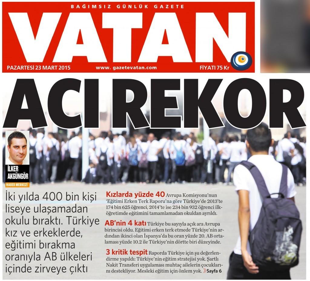 23 Mart 2015 Vatan Gazetesi 1. sayfa