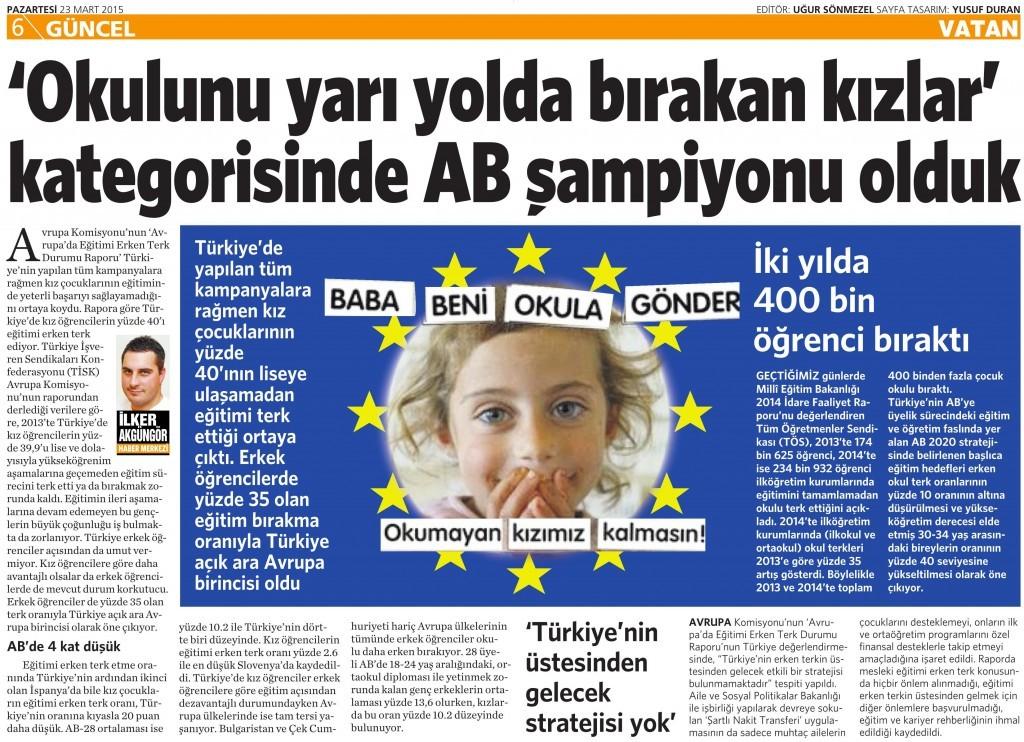 23 Mart 2015 Vatan Gazetesi 6. sayfa