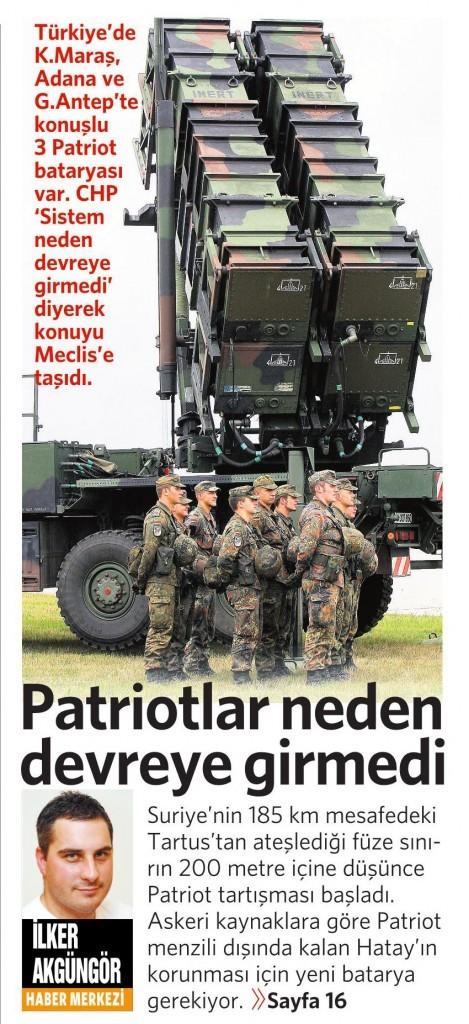 27 Mart 2015 Vatan Gazetesi 1. sayfa