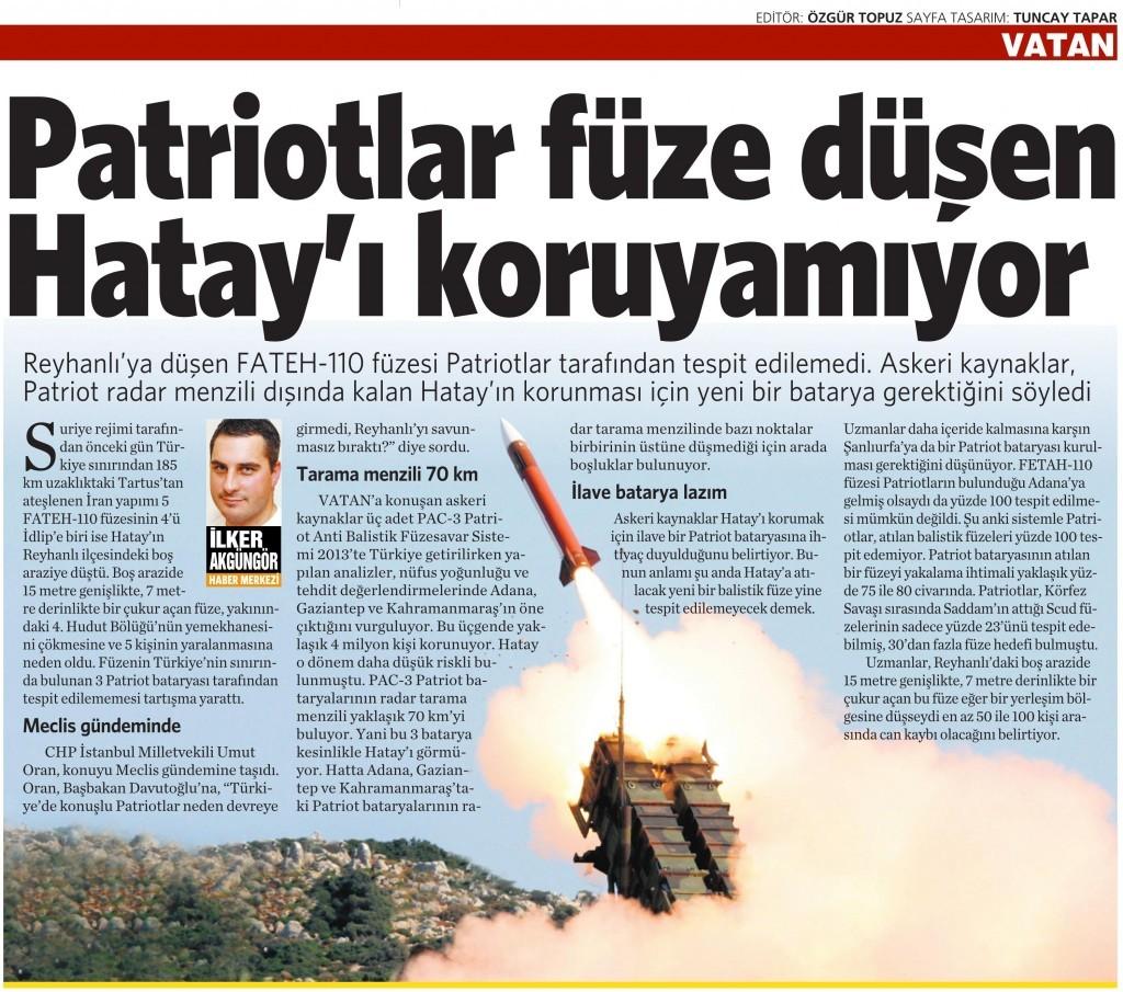 27 Mart 2015 Vatan Gazetesi 16. sayfa
