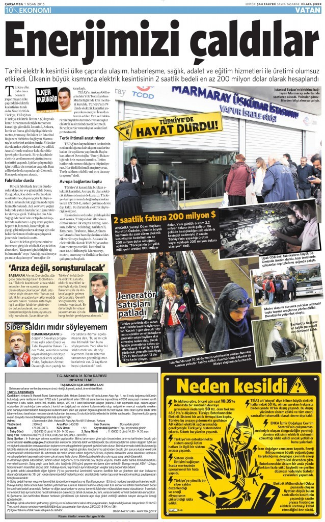 1 Nisan 2015 Vatan Gazetesi 10. sayfa