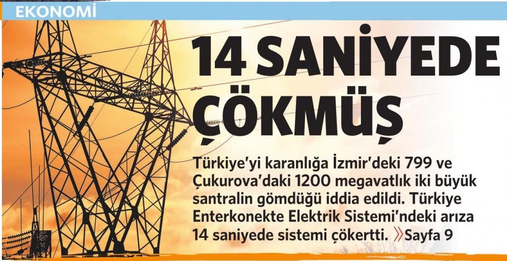 2 Nisan 2015 Vatan Gazetesi 1. sayfa