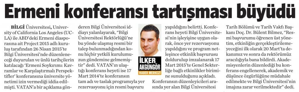 8 Nisan 2015 Vatan Gazetesi 11. sayfa