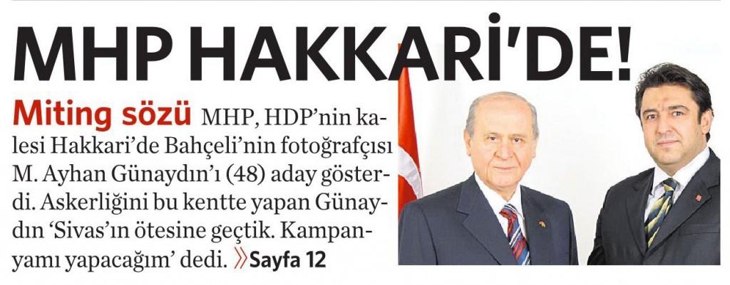 9 Nisan 2015 Vatan Gazetesi 1. sayfa