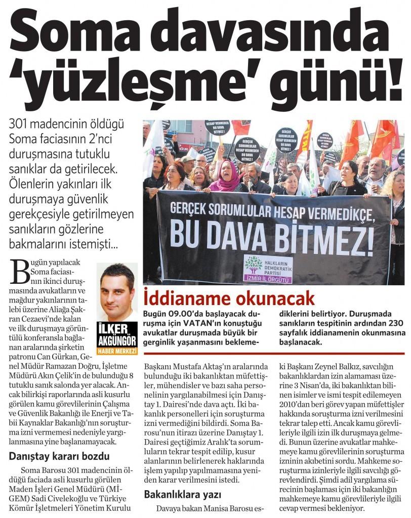 15 Nisan 2015 Vatan Gazetesi 11. sayfa
