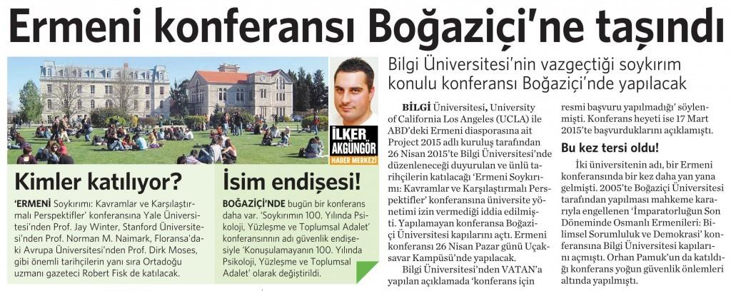 18 Nisan 2015 Vatan Gazetesi 14. sayfa