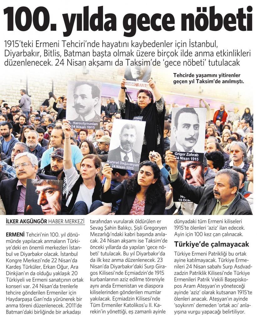 20 Nisan 2015 Vatan Gazetesi 13. sayfa