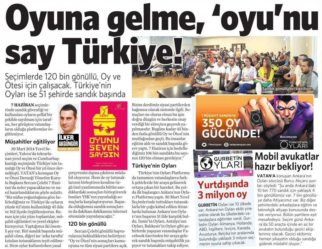 21 Nisan 2015 Vatan Gazetesi 15. sayfa