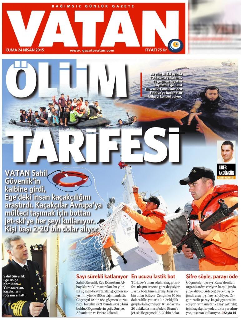 24 Nisan 2015 Vatan Gazetesi 1. sayfa