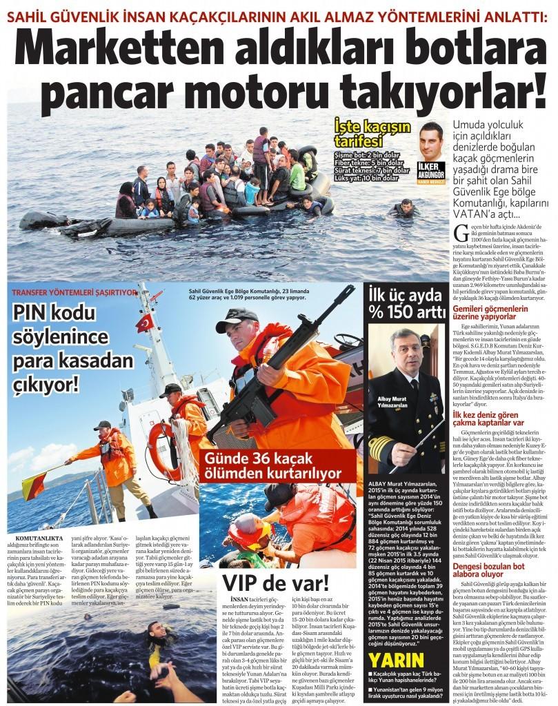 Sahil Güvenlik Ege Bölge Komutanlığı, 23 limanda 62 yüzer araç ve 1.019 personelle görev yapıyor. 245 Nisan Vatan Gazetesi 14. sayfa