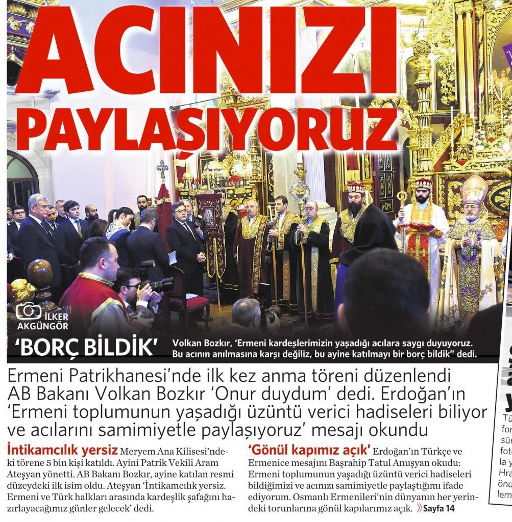 25 Nisan 2015 Vatan Gazetesi 1. sayfa
