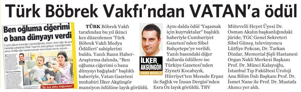 25 Nisan 2015 Vatan Gazetesi 5. sayfa