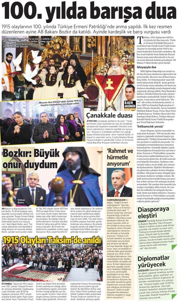 25 Nisan 2015 Vatan Gazetesi 14. sayfa