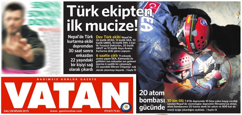27 Nisan 2015 Vatan Gazetesi 1. sayfa
