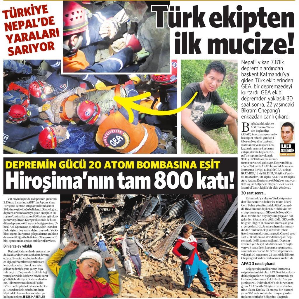 27 Nisan 2015 Vatan Gazetesi 13. sayfa