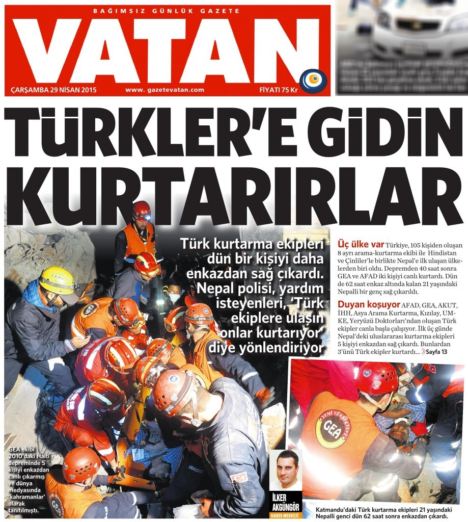 29 Nisan 2015 Vatan Gazetesi 1. sayfa