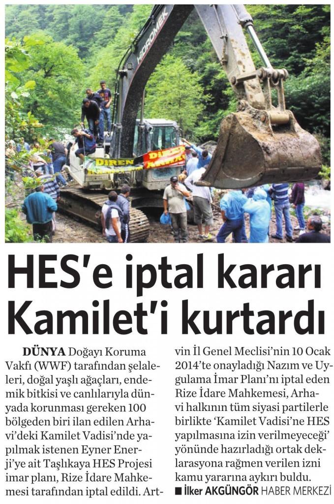 29 Nisan 2015 Vatan Gazetesi 3. sayfa