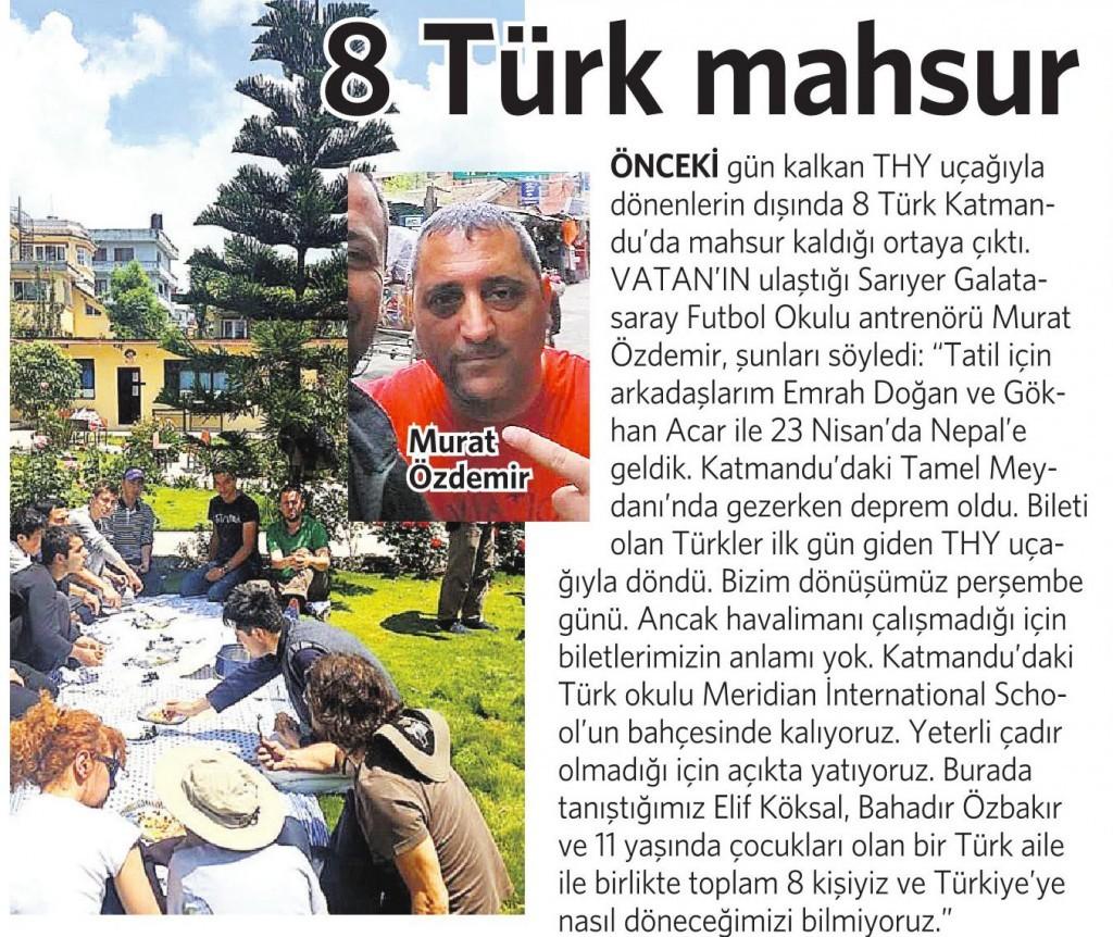 29 Nisan 2015 Vatan Gazetesi 13. sayfa