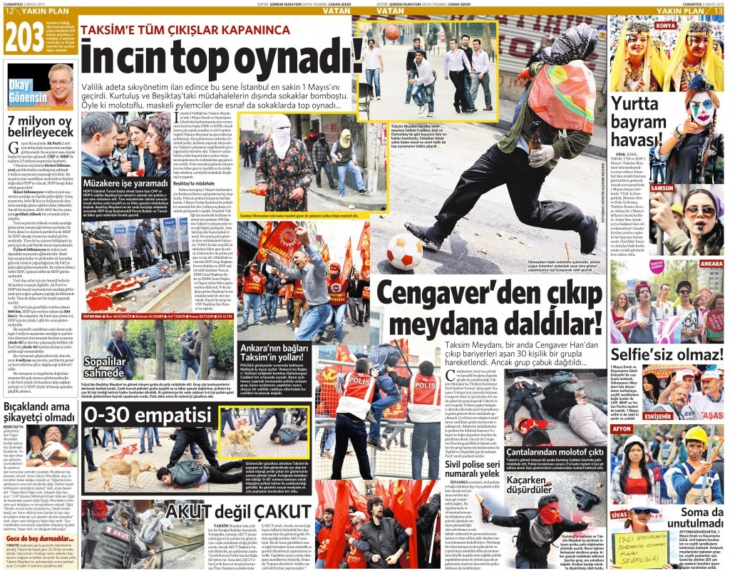 2 Mayıs 2015 Vatan Gazetesi 12. ve 13. sayfa