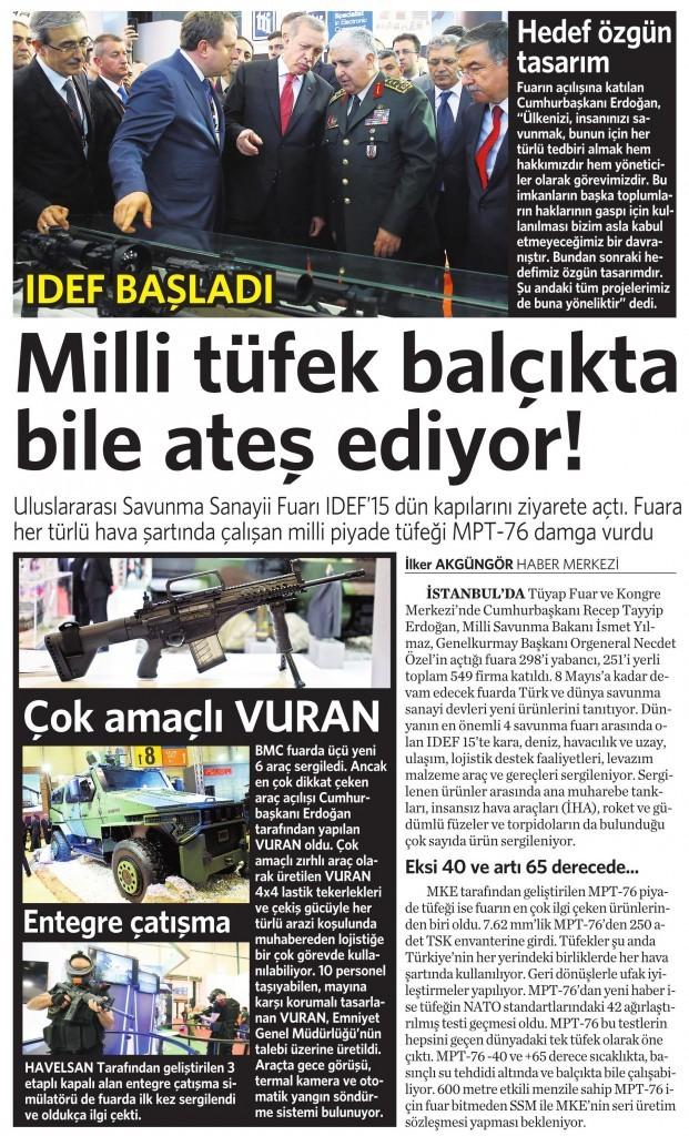 6 Mayıs 2015 Vatan Gazetesi 12. sayfa