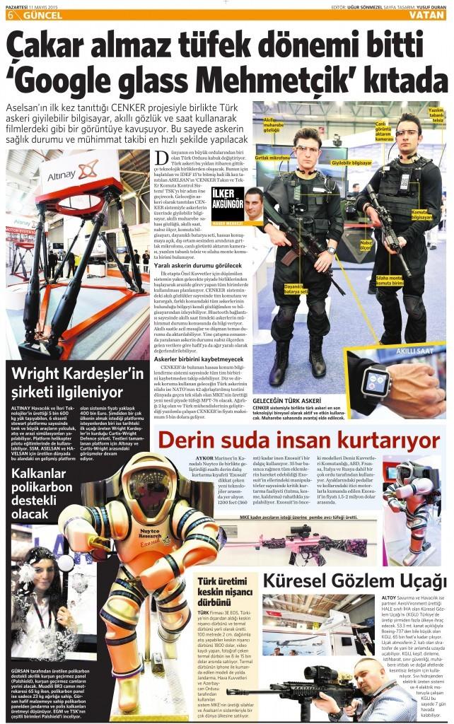 11 Mayıs 2015 Vatan Gazetesi 6. sayfa