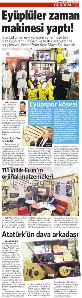 11 Mayıs 2015 Vatan Gazetesi 15. sayfa