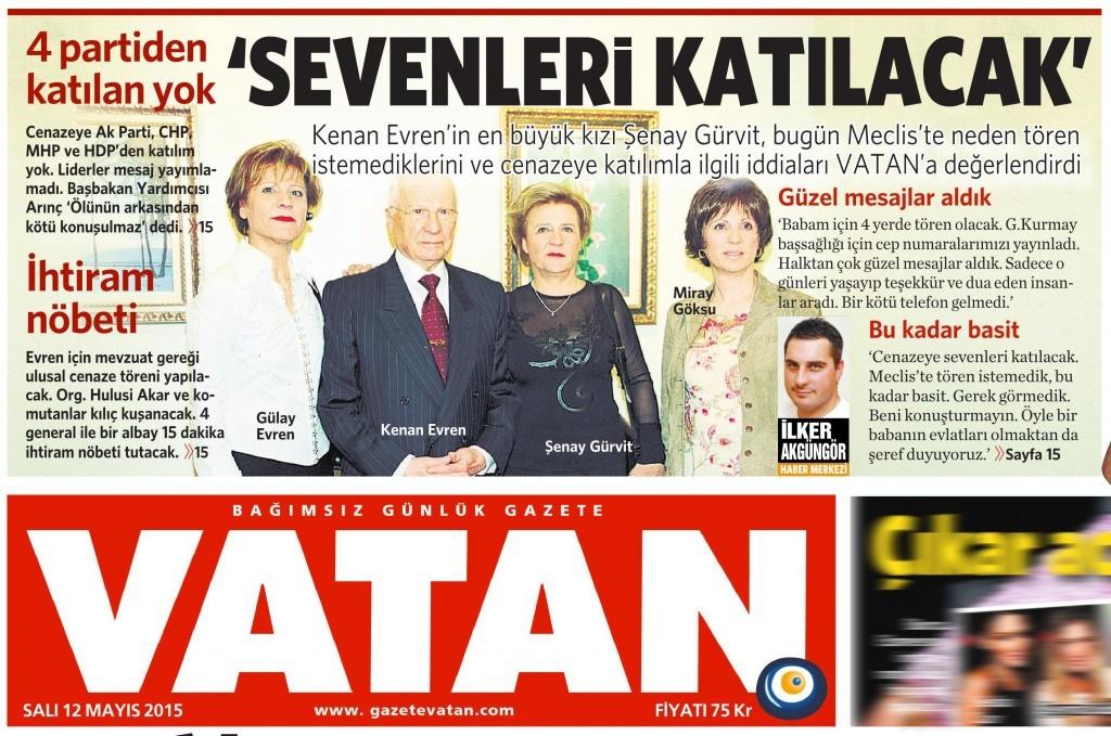 12 Mayıs 2015 Vatan Gazetesi 1. sayfa