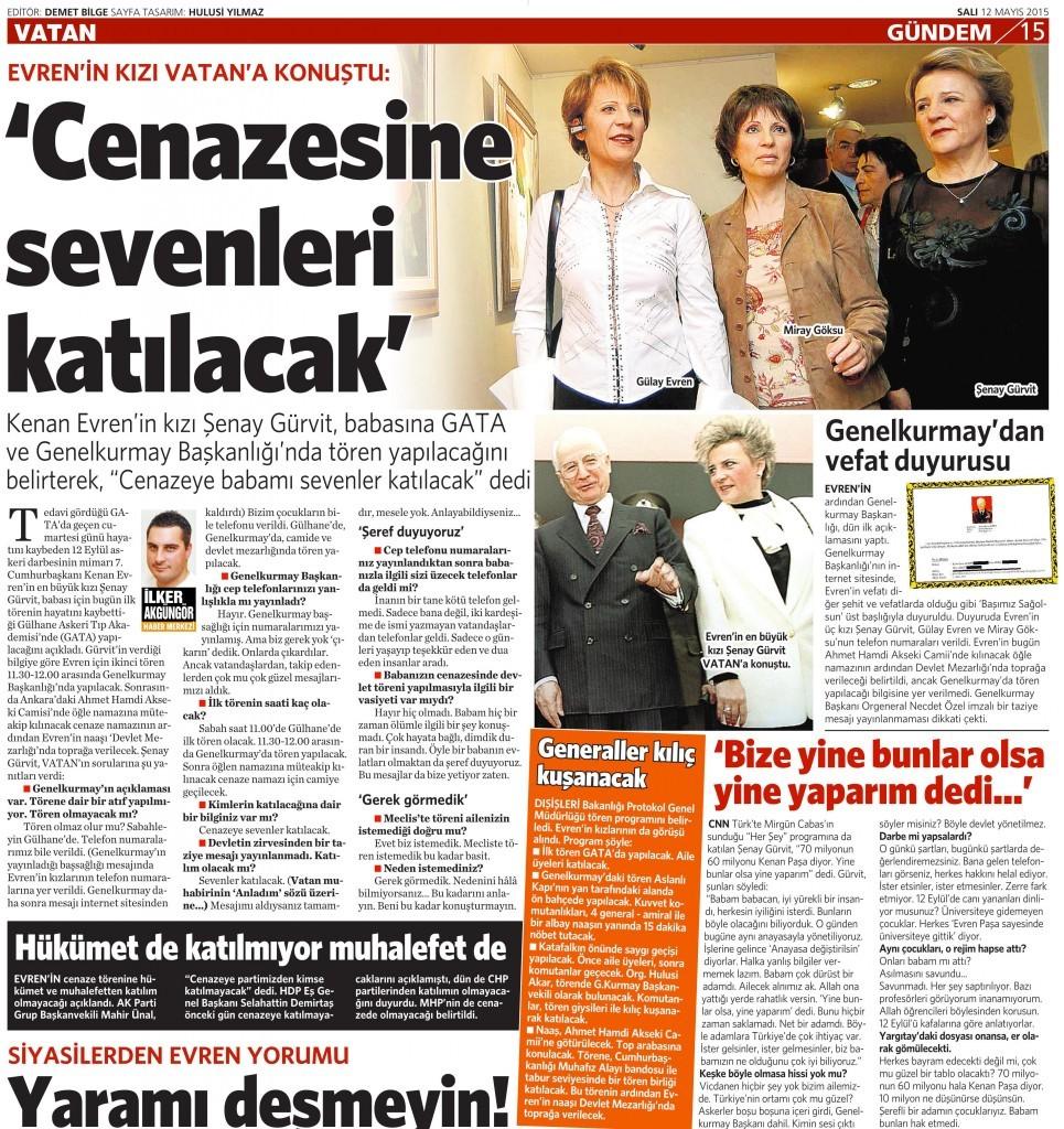 12 Mayıs 2015 Vatan Gazetesi 15. sayfa