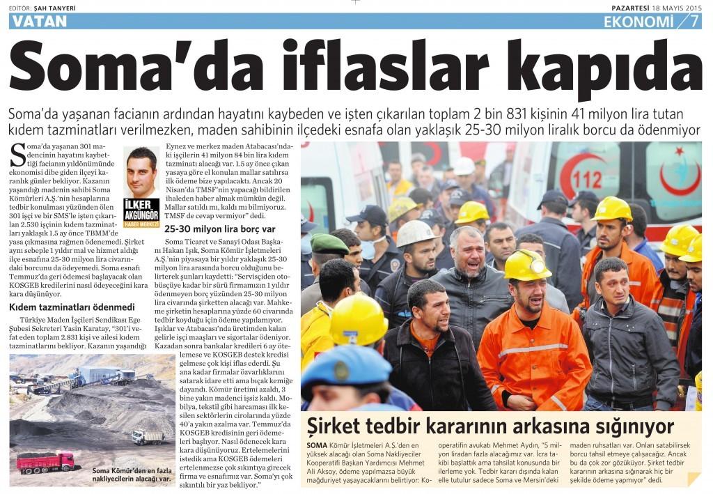 18 Mayıs 2015 Vatan Gazetesi 7. sayfa